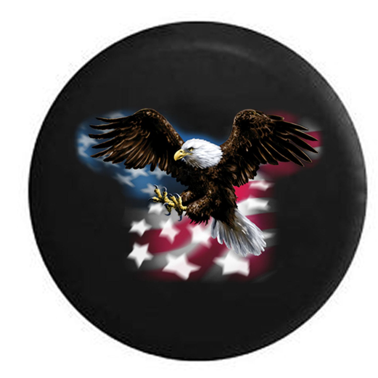 American Bald Eagle Flying Over Flag Jeep Rv Camper Spare Tire