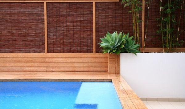 Pool Sichtschutz Garten Bambus Pflanztöpfe
