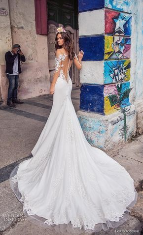lorenzo rossi 2018 bridal sheer long sleeves illusion bateau sweetheart neckline heavily embellished bodice elegant sheath wedding dress sheer button back