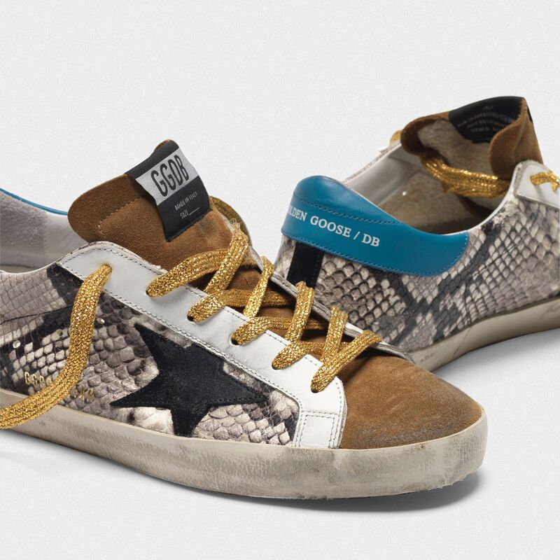 Superstar sneakers in snakeskin print leather and suede in