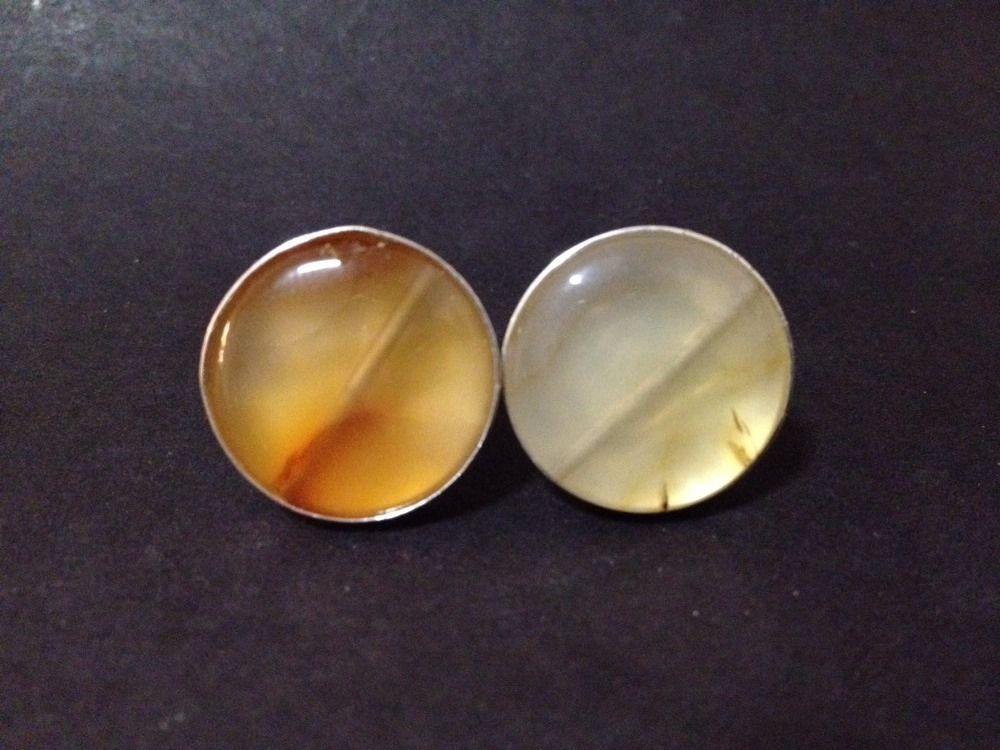 Estate Find - Sterling Silver & Agate Cufflinks - Stamped 925