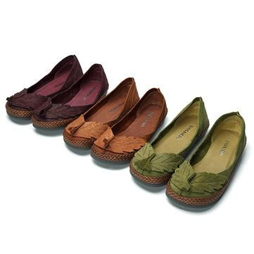 Hot-sale SOCOFY Leaf Genuine Leather Comfortable Soft Sole Retro Flat  Loafers