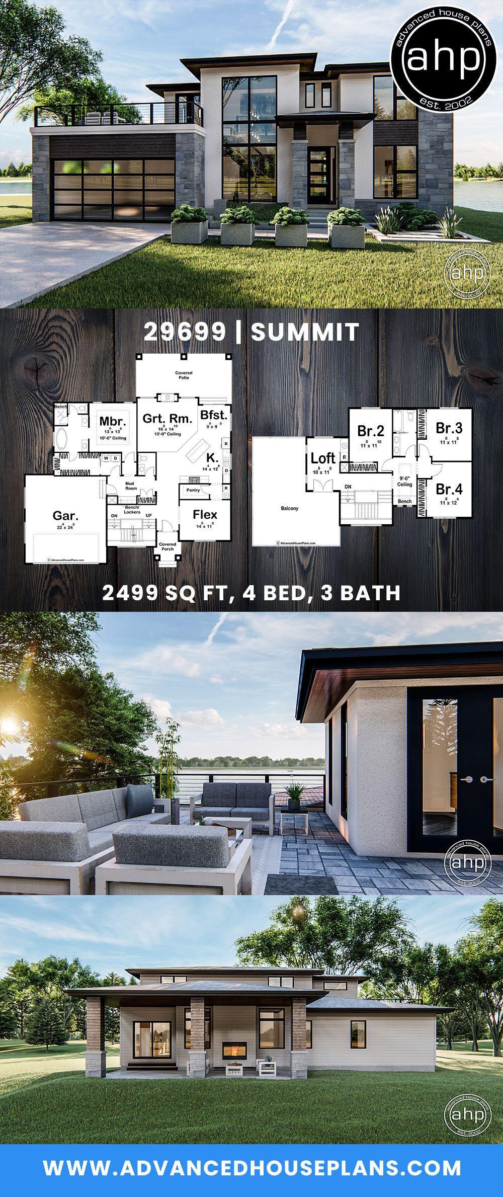 1 5 Story Modern Prairie House Plan Summit In 2020 Industrial House Plans House Plans House Blueprints