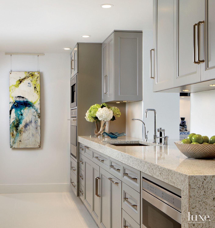 Contemporary White Kitchen with Vetrazzo Countertop ...