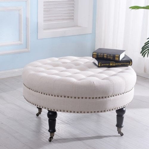 Belleze 33-inch Tufted Round Ottoman Foot Stool Large W