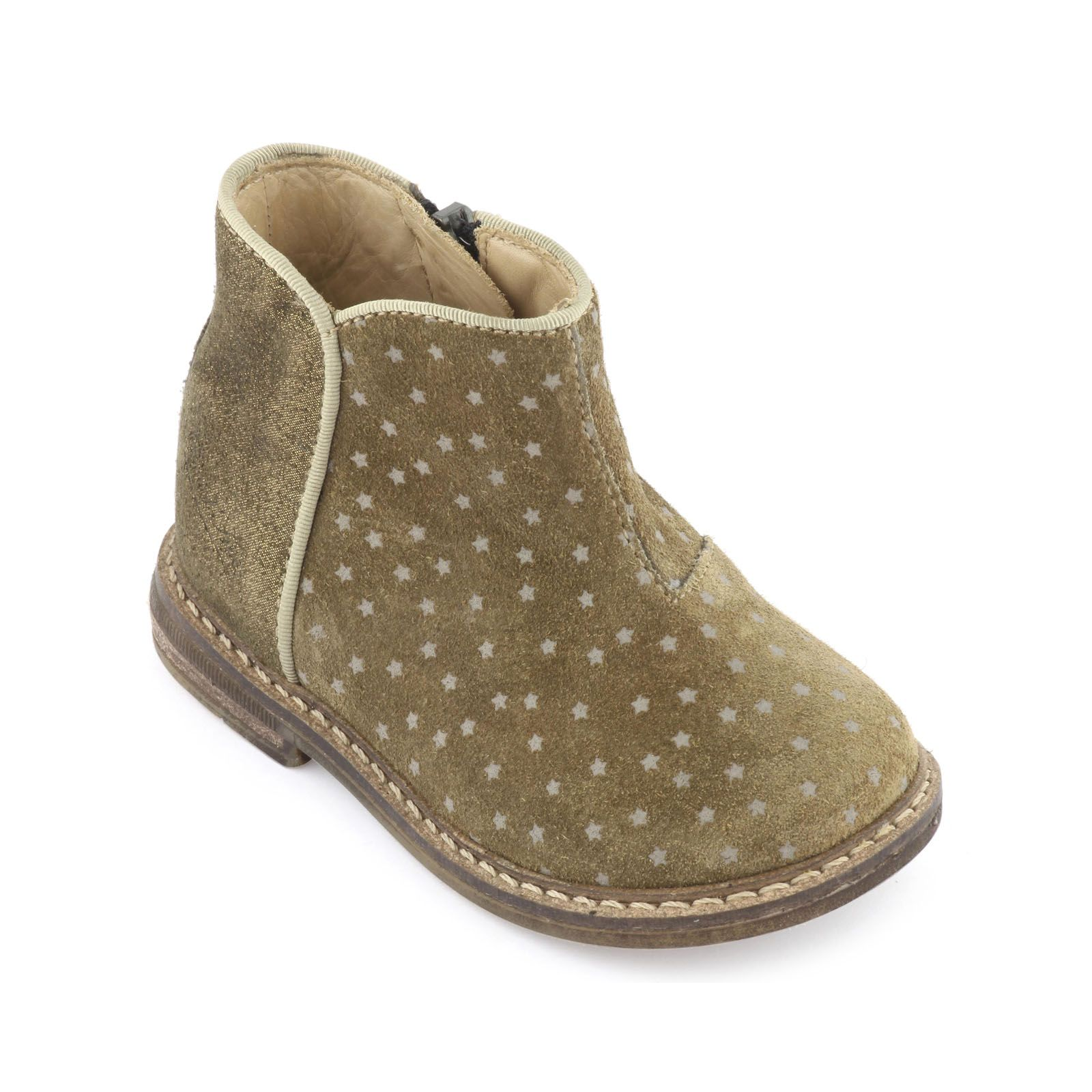 Star-printed upper made of suede leather. Leather patch with gold highlights at the back of the shoe. Leather insoles and lining. Strengthening patches at the back of the shoe. Zip fastening on the side.non-slip gum outsoles. Leg = 7 cm. - $ 118.00