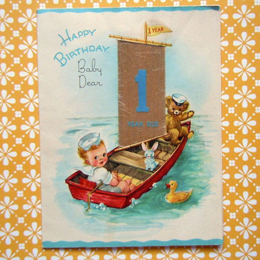Vintage baby birthday greeting card little boy sailor in boat with vintage baby birthday greeting card little boy sailor in boat with teddy bear kristyandbryce Choice Image
