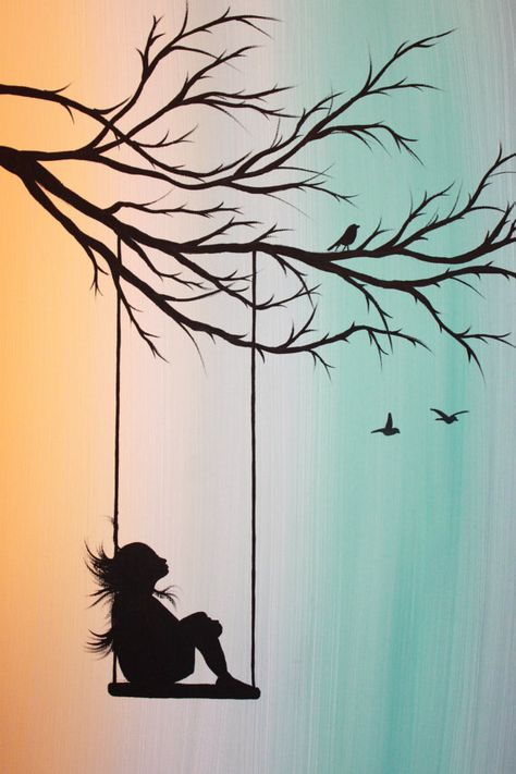 original abstract acrylic painting canvas peppermint swing girl tree branch swing silhouette. Black Bedroom Furniture Sets. Home Design Ideas