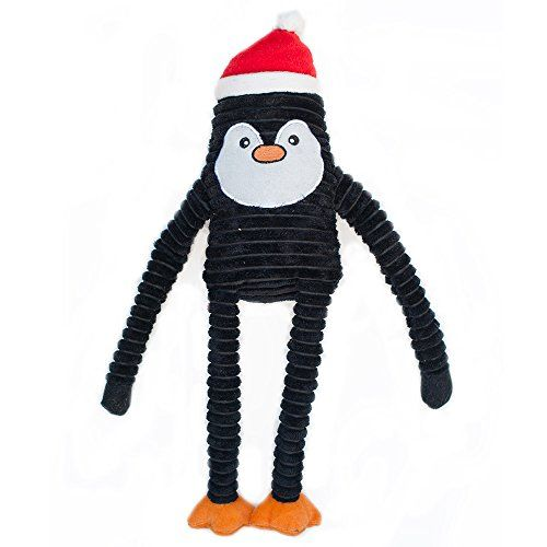 Zippypaws Holiday Crinkle Squeaky Penguin Plush Dog Toy Pet