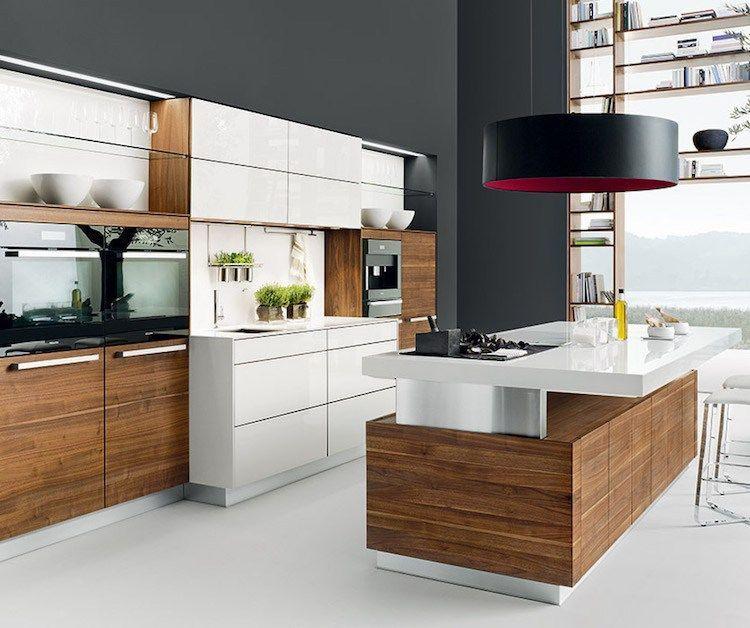 Cuisine Blanche Et Bois Fonce Moderne Suspension Noire Fond Gris