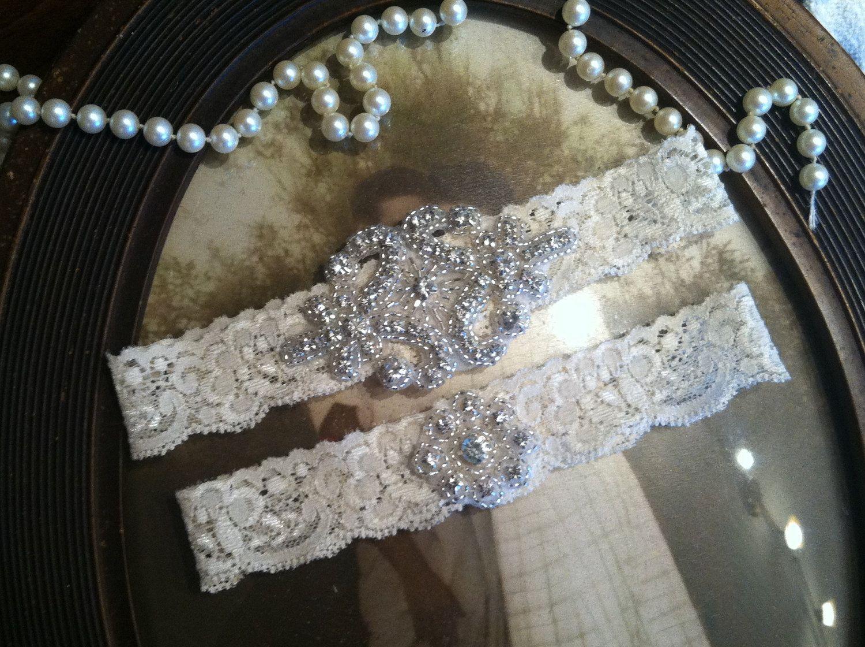 Wedding Garter - Ivory Lace Garter Set - Rhinestone Garter - Applique Garter - Vintage - Bridal Garter - Vintage Garter - Toss Garter. $35.00, via Etsy.