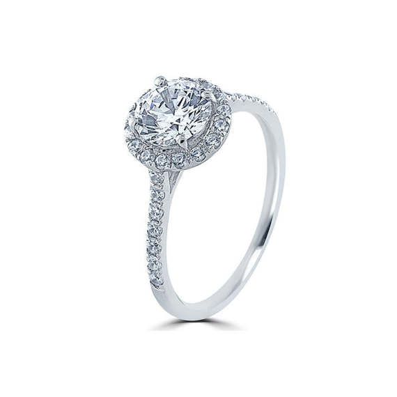 Sale Classic Simple Petite Halo Engagement Ring 0.40cts