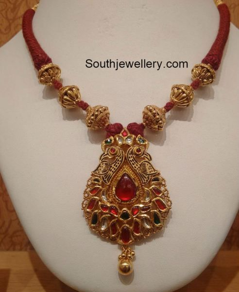 Red Chandelier India: Red Dori Necklace With Peacock Pendant