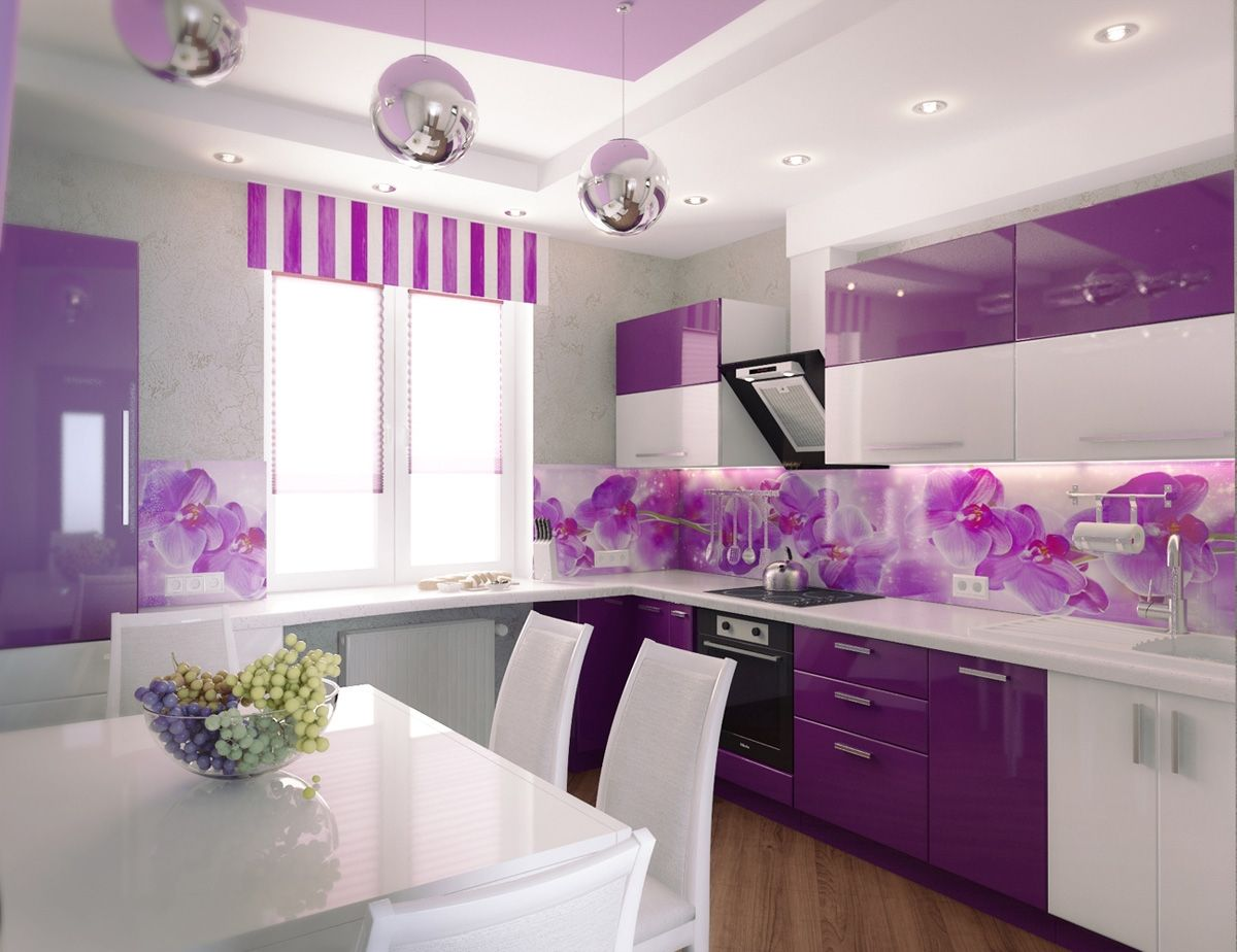 Charming white purple kitchen decorative floral completed silver