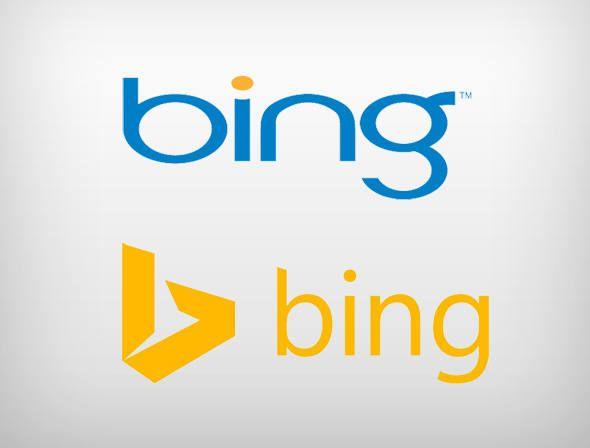 Logotipos antigo e novo do Bing