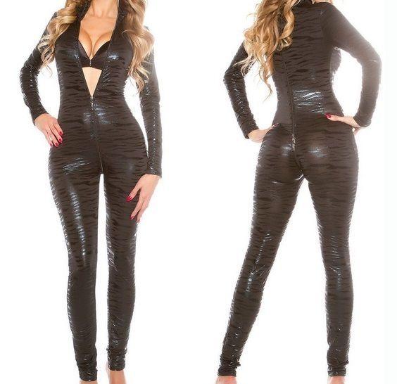 Plus Size M-2XL Spandex PVC Gothic Catsuit Bodysuit Jumpsuit Clubwear Costume
