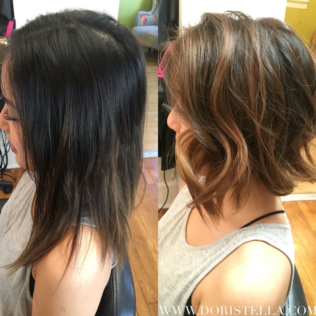 Before After On My Asian Beauty Bronde Balayage Highlights Bob