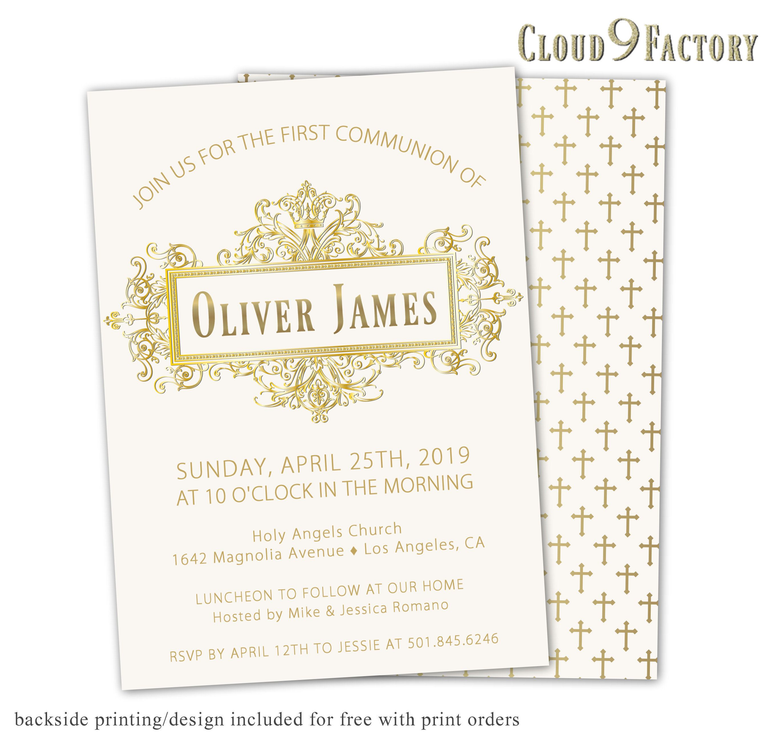 first communion invitations boy baptism invites gold crown ivory