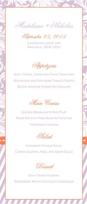 DIY Printable MS Word Wedding Menu Template W023 by Inkpower - ms word menu template