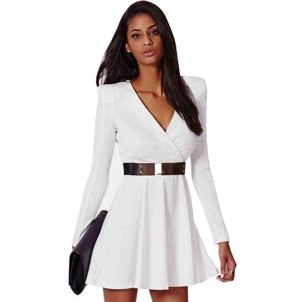 White Long Sleeve V-neck Dress (£21) ❤ liked on Polyvore