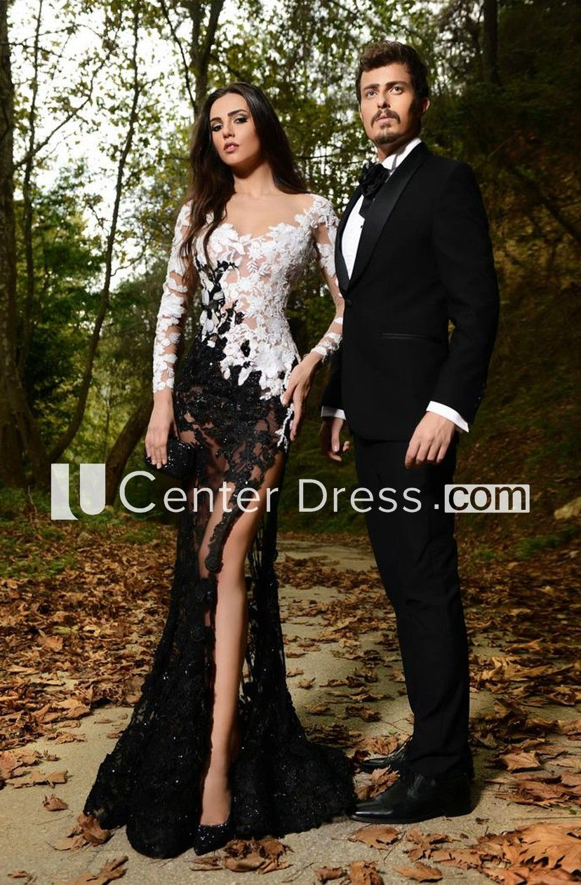 Sexy Lace Appliques Mermaid Prom Dress 2018 Front Split Black And