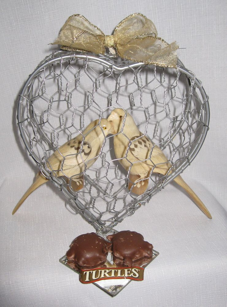 2nd Day of Christmas Inspired Assemblage... Two Turtles (candies) and doves...