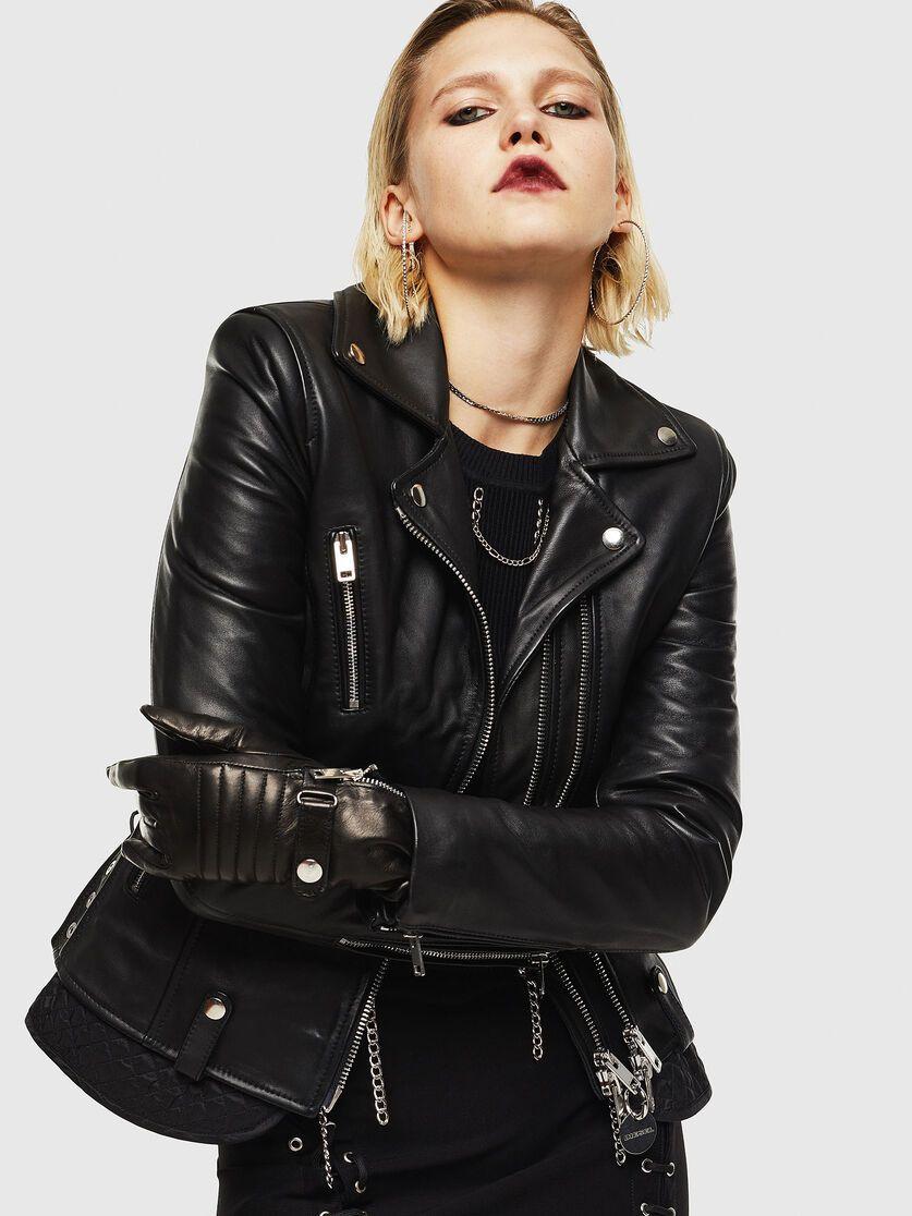 L Carama Black Black Mini Skirt Biker Jacket Leather Jacket [ 1116 x 837 Pixel ]