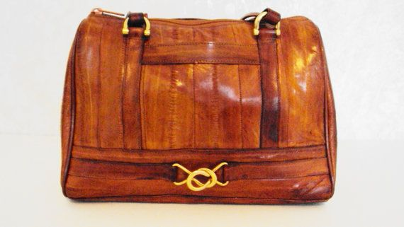 Free Shipping Vintage Purse Lee Sands Eel Skin Cognac Women S Handbag Authentic Genuine L Strap Fall Color