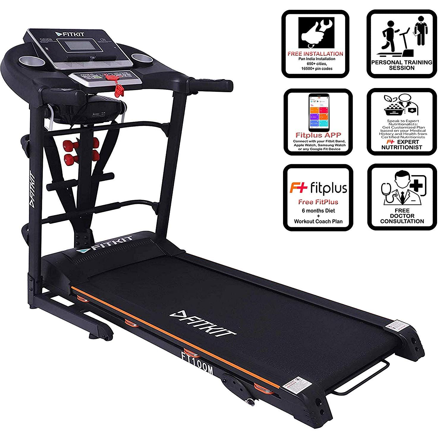 Treadmill features LCD display time, speed, calories