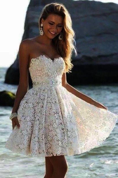 f90f909b78f Custom Cheap Ball Gown Sweetheart Ivory Lace Short Prom Dresses ...
