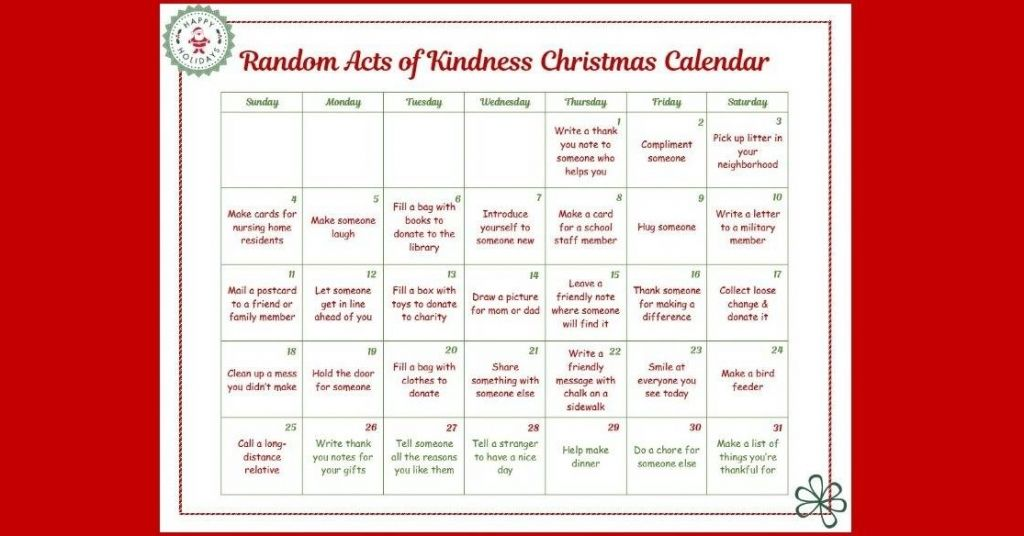 Random Acts of Kindness Christmas Calendar Just for Kids Food