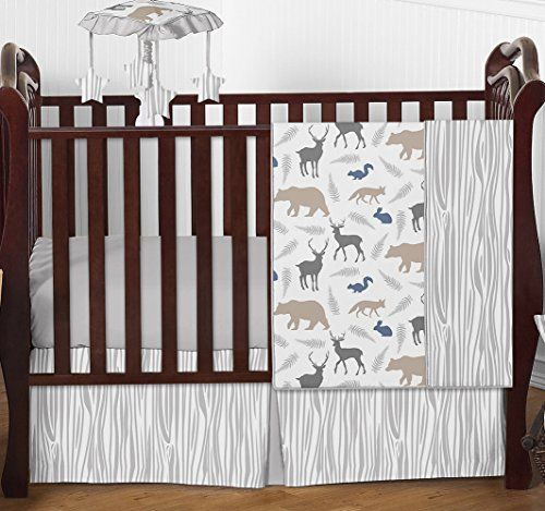 Camping Theme Toddler Bedding Blue Grey And White Woodland Animal Safari Bear Deer Fox Baby Boy Baby Boy Bedding Woodland Nursery Girl Baby Boy Bedding Sets