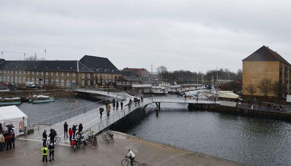 Butterfly Bridge by Dietmar Feichtinger Architects, in Christianshavn Canal and Trangraven, Copenhagen, Denmark.