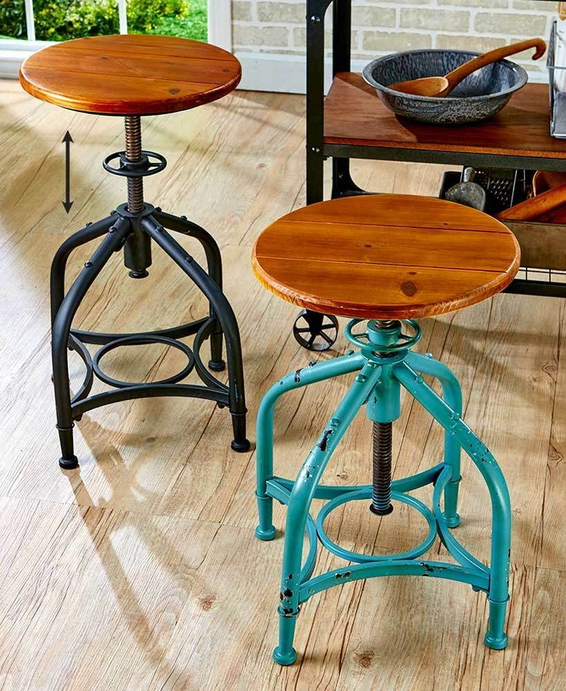Details About Industrial Metal Adjustable Height Swivel Bar Stool