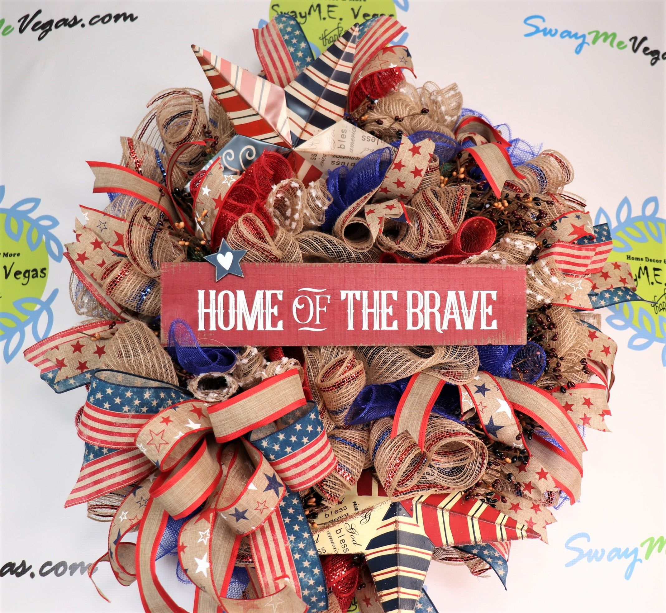 Patriotic Farmhouse Flag Wreath Military Americana Decorations July Fourth Wreath Pip Berry Rustic Decor Bless USA Independence Day