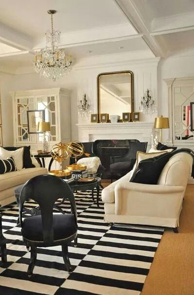 Beautiful Black White And Gold Living Room Gold Living Room