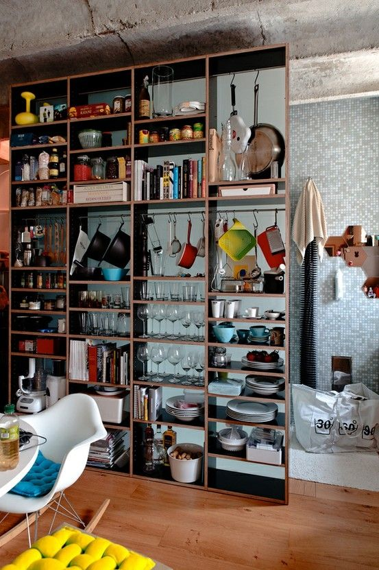 If your small #kitchen is lacking in cabinets, use a large bookcase ...