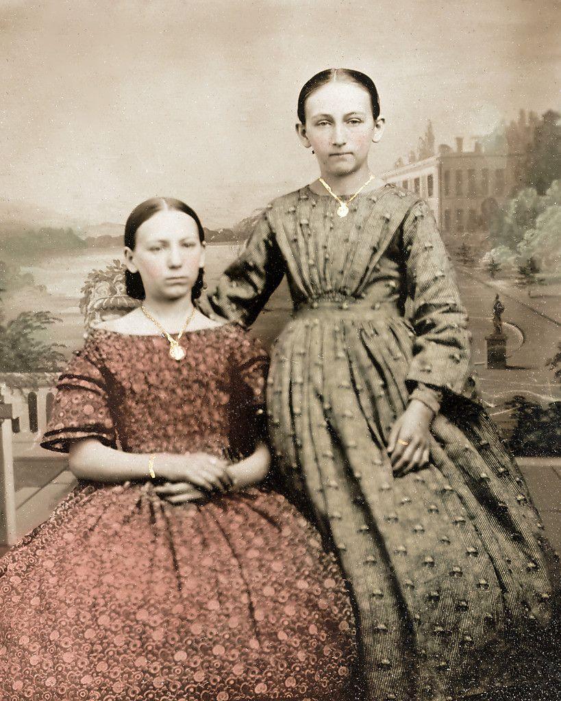 8 by 10 civil war photo print 2 girls calico dresses civil war