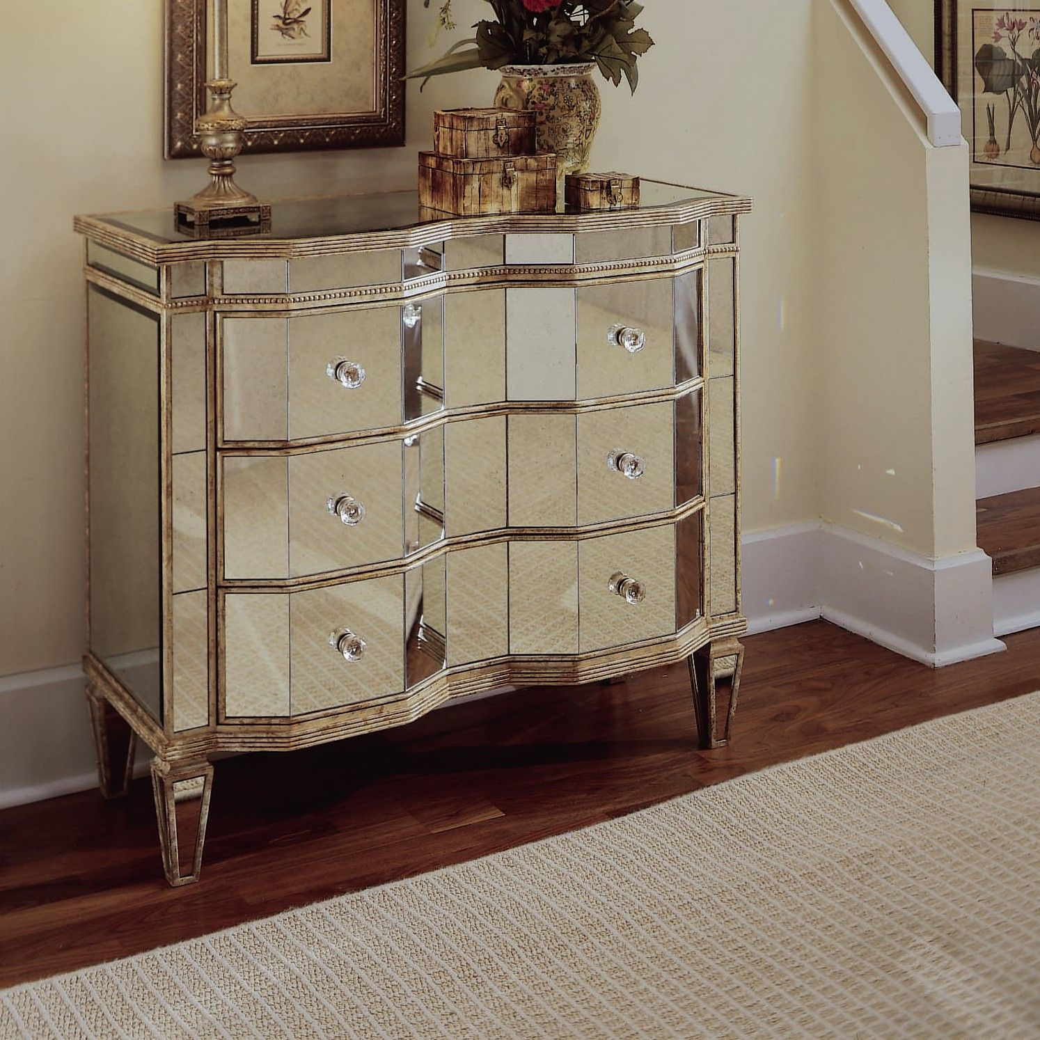 mirrored 3 drawer chest wayfair