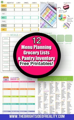 12 free Menu planning printables, grocery lists, and inventory - grocery list budget spreadsheet