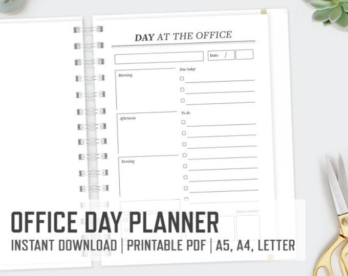 Day At The Office  Letter A A  Day Planner Daily Planning