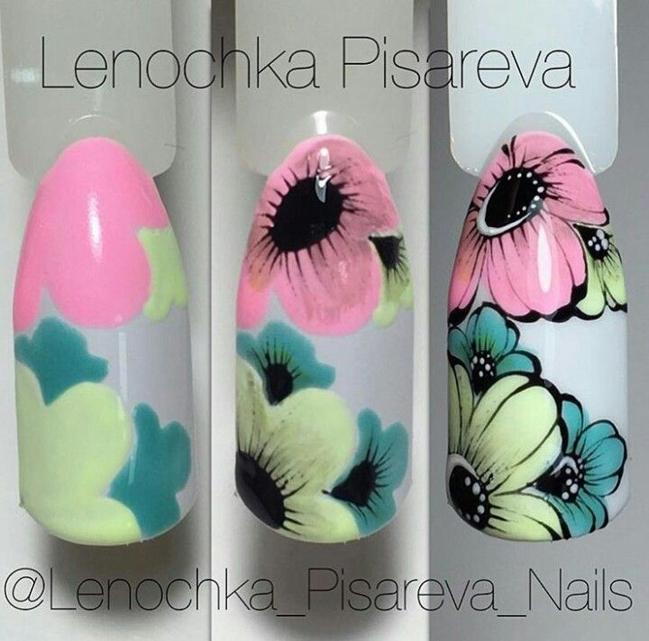 Colors Grey Bg And Many Flowers Black Outlines Nail Art Designs Flower Nails Best Nail Art Designs