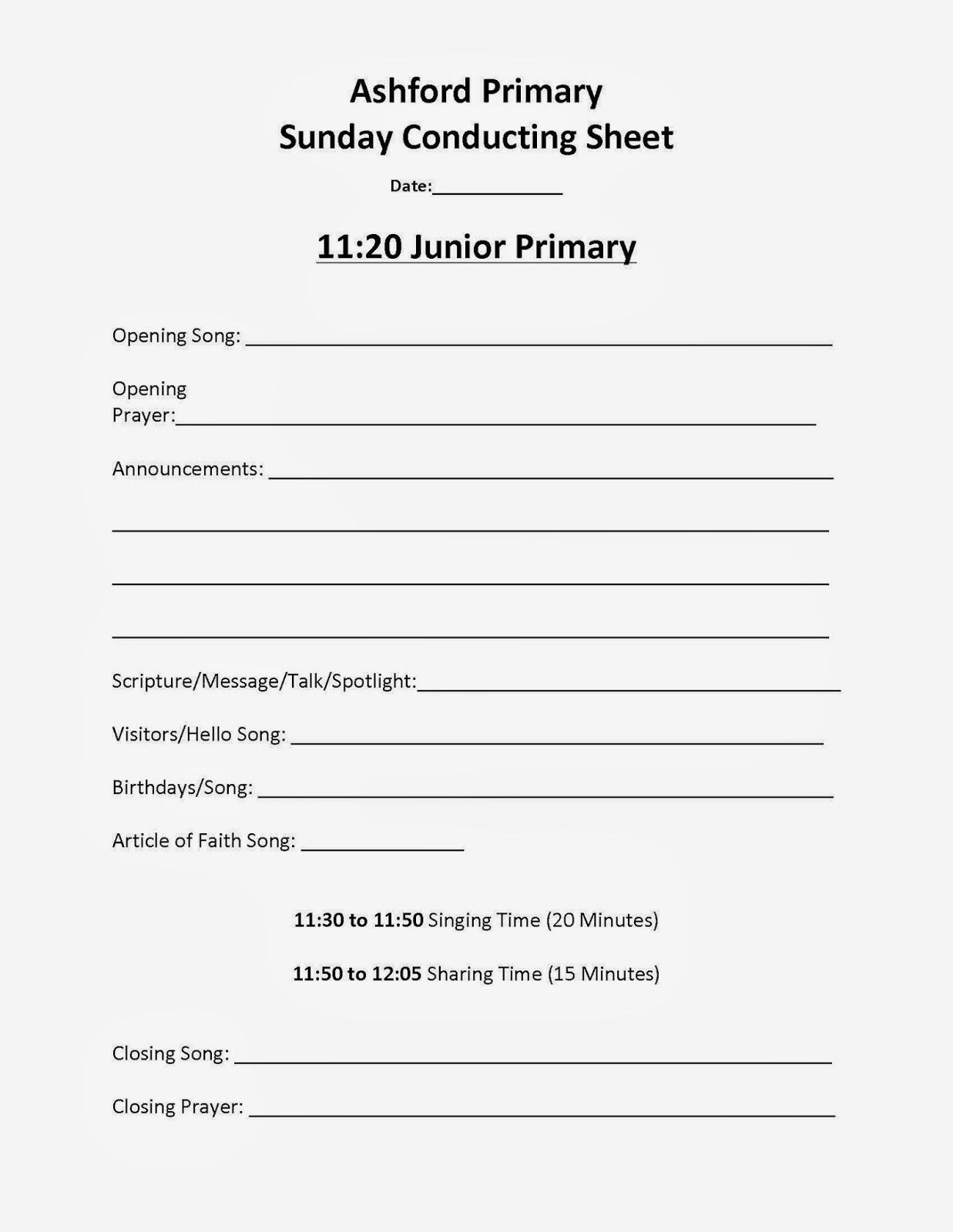 Lds Primary Sharing Time Agenda Conducting Sheet Lds