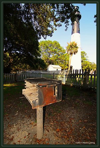 BBQ Grill For Cabin   Hunting Island Lighthouse In Background   Hunting  Island State Park, South Carolina
