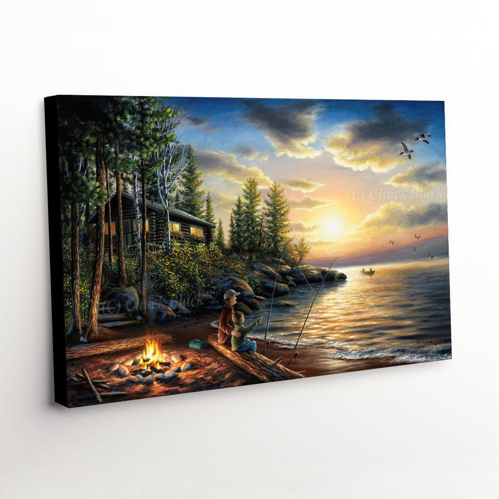 Rustic Cabin Landscape Canvas Art Print Landscape Canvas Art Landscape Canvas Canvas Art Prints