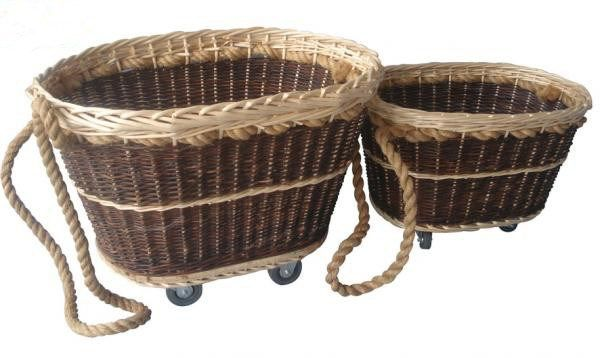 Set Of Two Rope Wicker Baskets On Wheels Wicker Wicker Baskets