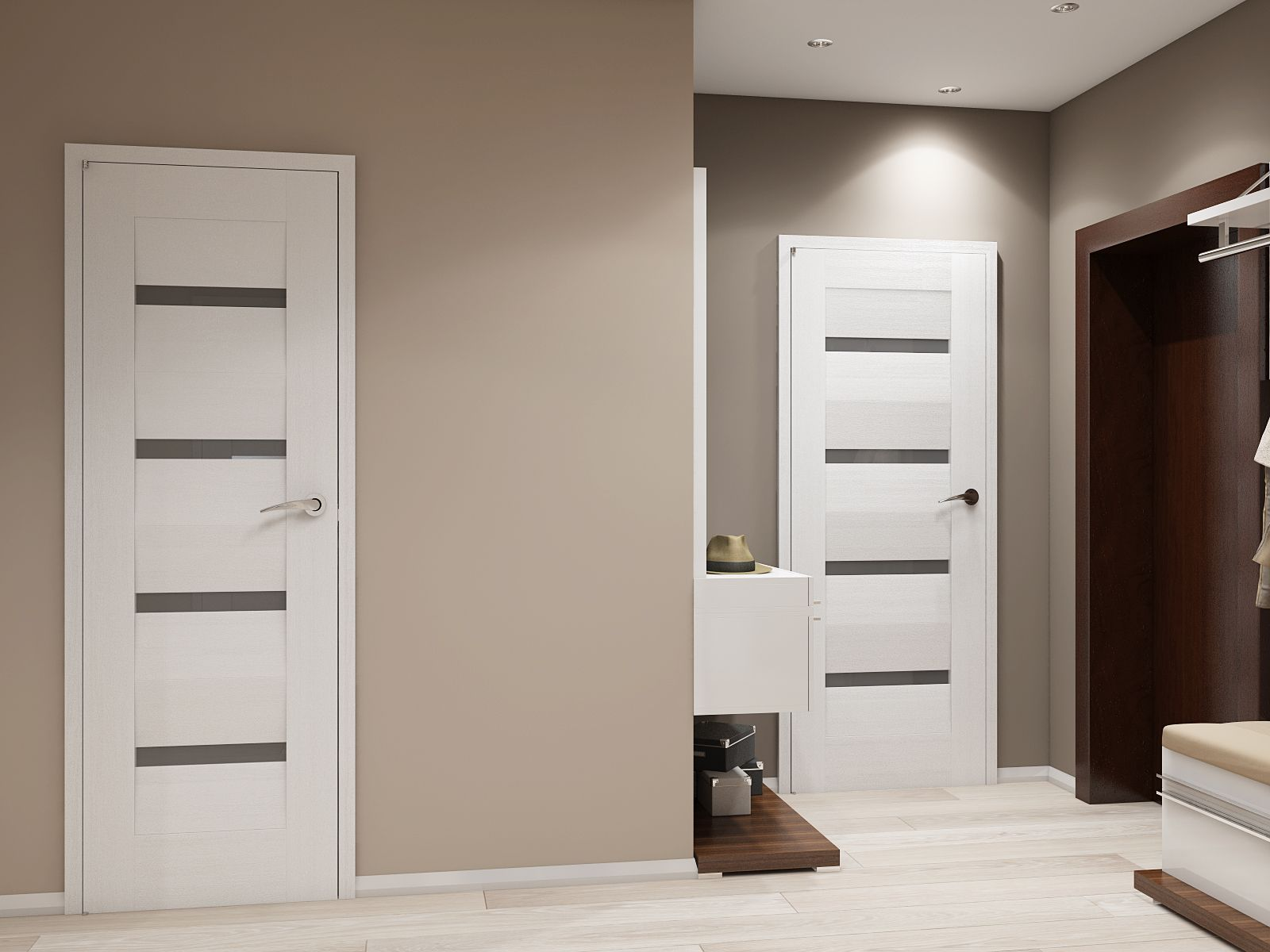межкомнатные двери выполнены из натуральных светлых пород