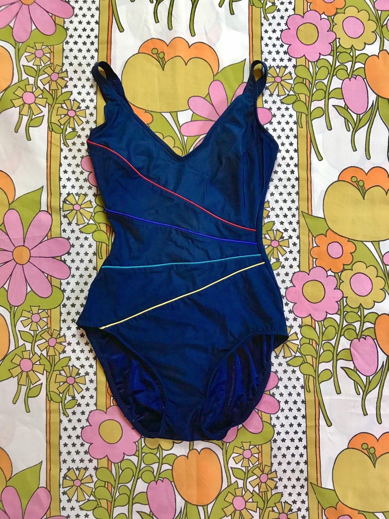 bc670c1dd49 Vintage 70s 80s navy blue rainbow striped one piece swimsuit XS/S Robby Len  retro
