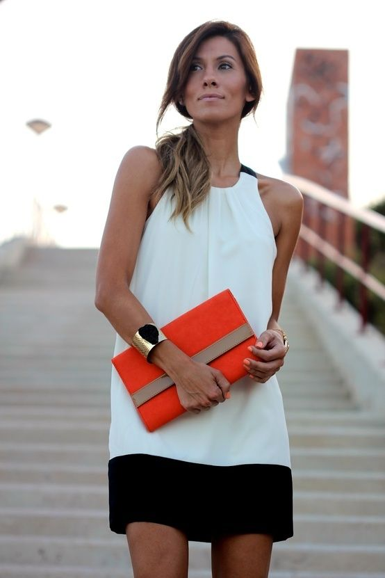 black & white w/ pop or orange. LOVE this for date night with the hubby.