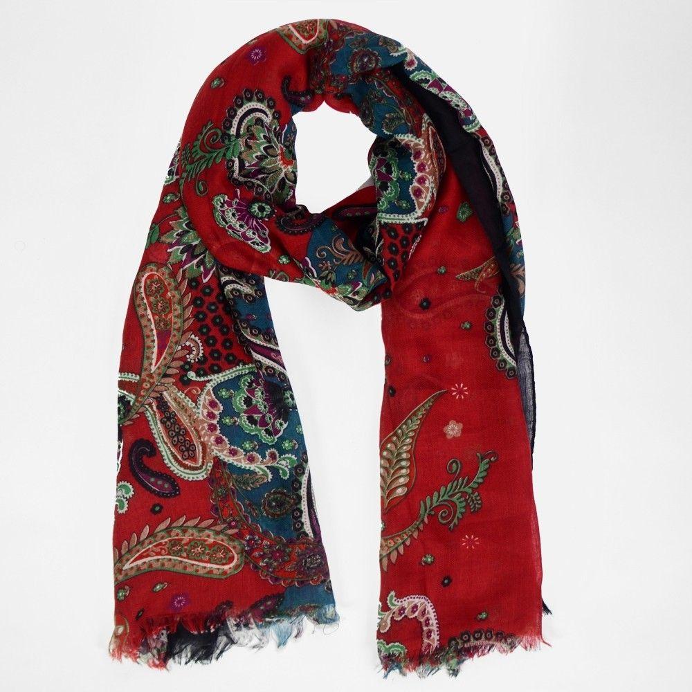 ab5fb4896390 Etole rouge coquelicot à motifs paisley Rouge Coquelicot